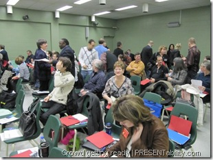 Crowd getting ready for Toastmasters Leadership Session - PRESENTability.com