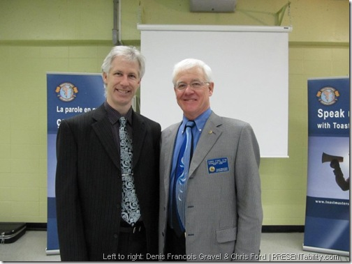 From left to right: Denis Francois Gravel & Chris Ford at Toastmasters Leadership Session