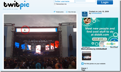 Festival Screen with my Tweet