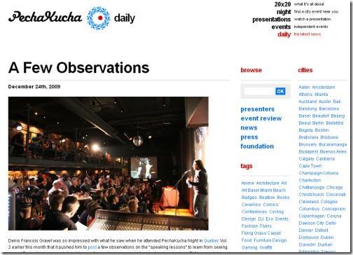 Pecha Kucha.org post about Presentability.com