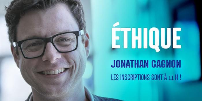 Publicité de la conférence de Jonathan Gagnon à Creative Mornings Québec